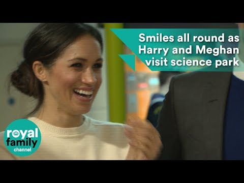 Smiles all round as Prince Harry and Meghan Markle visit science park