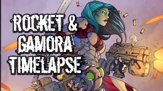 Photoshop comic coloring video: Rocket Raccoon and Gamora!