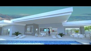 New Modern Single Story with 75' Lap Pool & Strip Views