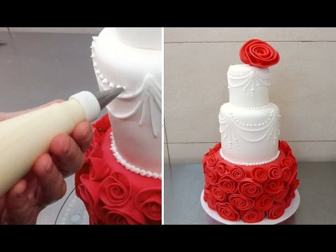 Red White Wedding Cake Idea How To By Cakesstepbystep Youtube