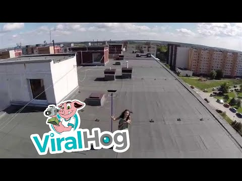 Drone helicopter spies topless woman || ViralHog