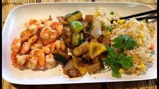 camarones y vegetales teppanyaki en casa