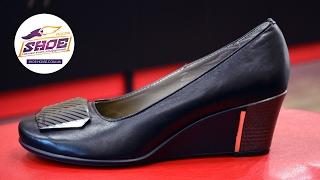 Женские кожаные туфли на танкетке Alisa Gold
