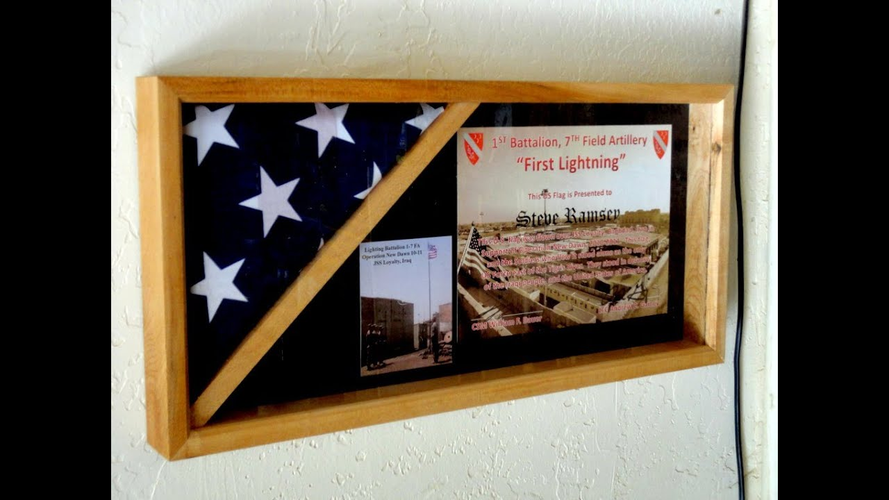 Flag case in honor of the 1 7 field artillery on veterans for Shadow box plans pdf
