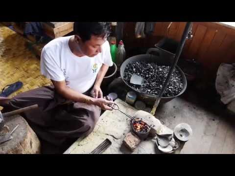 Traditional Burmese silver smith working...