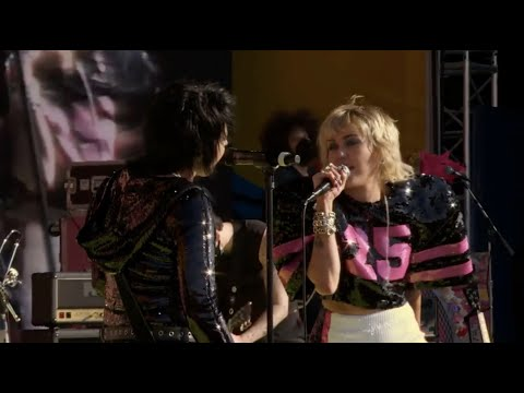 Joan Jett and Miley Cyrus perform at Super Bowl LV
