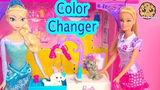 Color Changing Pups Water Play Barbie Pet Groomer Playset With Disney Frozen Queen Elsa Dolls  Video