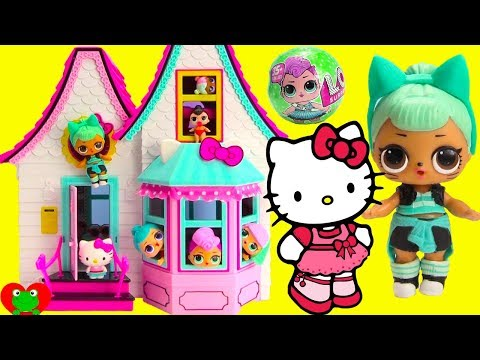 LOL Surprise Dolls Move In With Hello Kitty Doll House