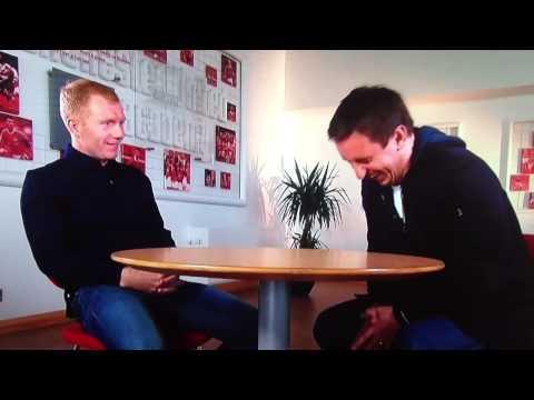 Gary Neville interviewing Paul scholes