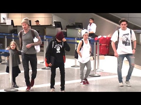 David Beckham Holding Hands With Harper As The Family Lands At LAX