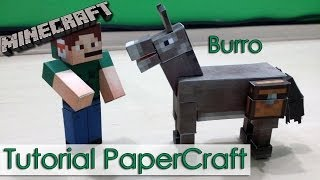 Tutorial PaperCraft Minecraft - Burro / Donkey