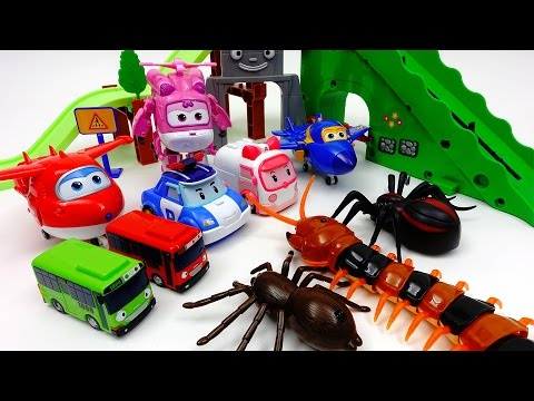 Thumbnail: Go Super-Wings Robocar Poli, Defeat Monster Spider and Giant Centipede~!