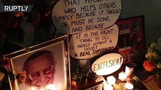 Fans pay tribute at Stan Lee's Walk of Fame Star in Hollywood