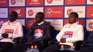 Reigning champ Daniel Wanjiru at 2018 London Marathon press conference