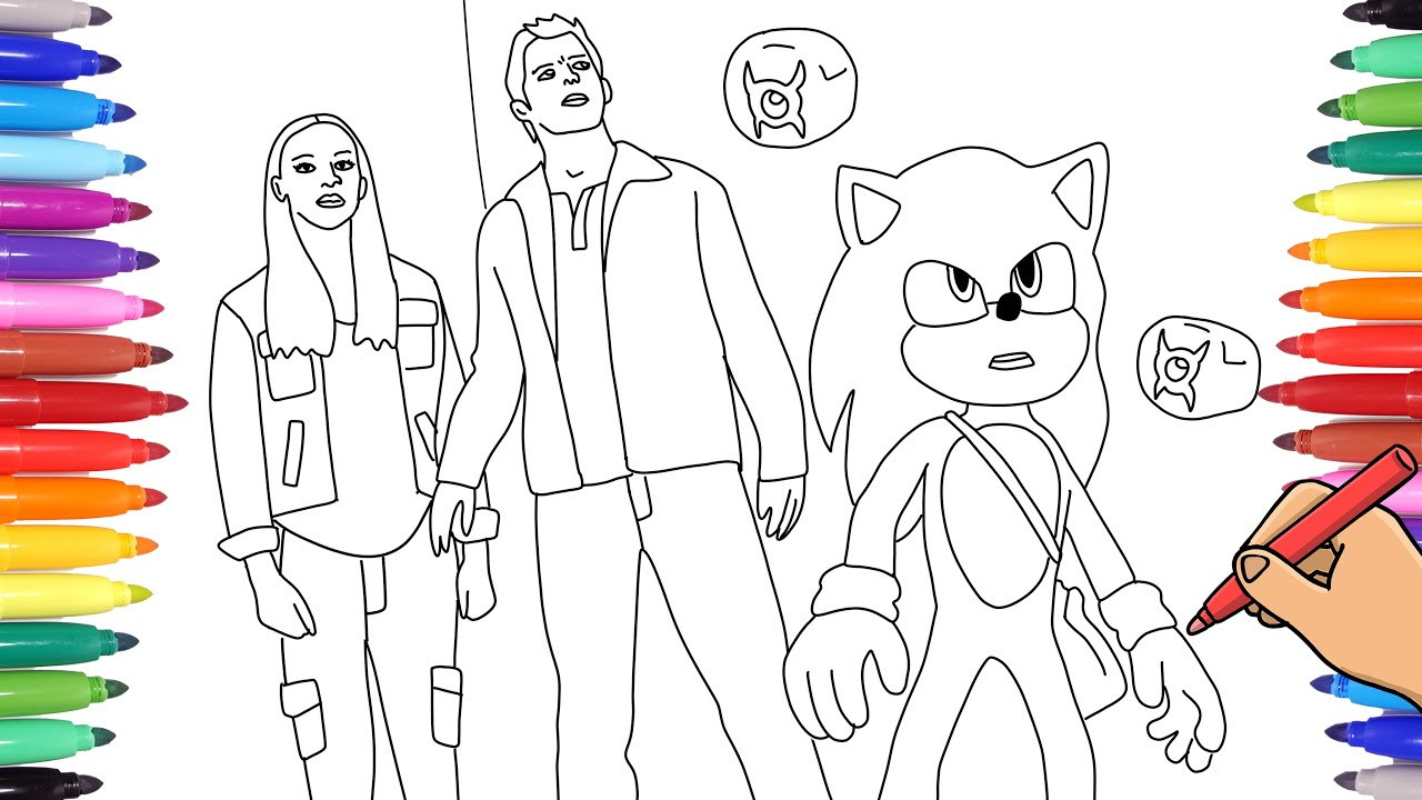 Sonic The Hedgehog Movie Coloring Pages How To Color And Draw Sonic Maddie And Tom Youtube