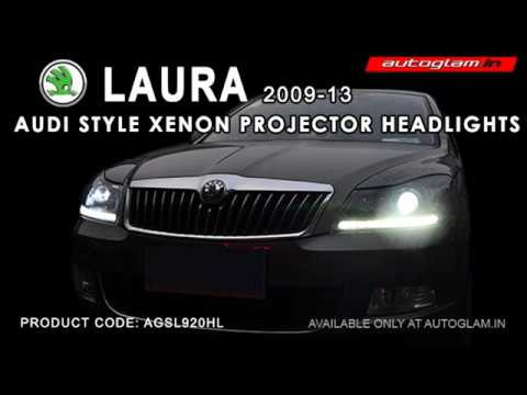 AGSL920HL, Skoda LAURA 2009-13   AUDI DRL XENON HID  Projector  Headlights by autoglam.in