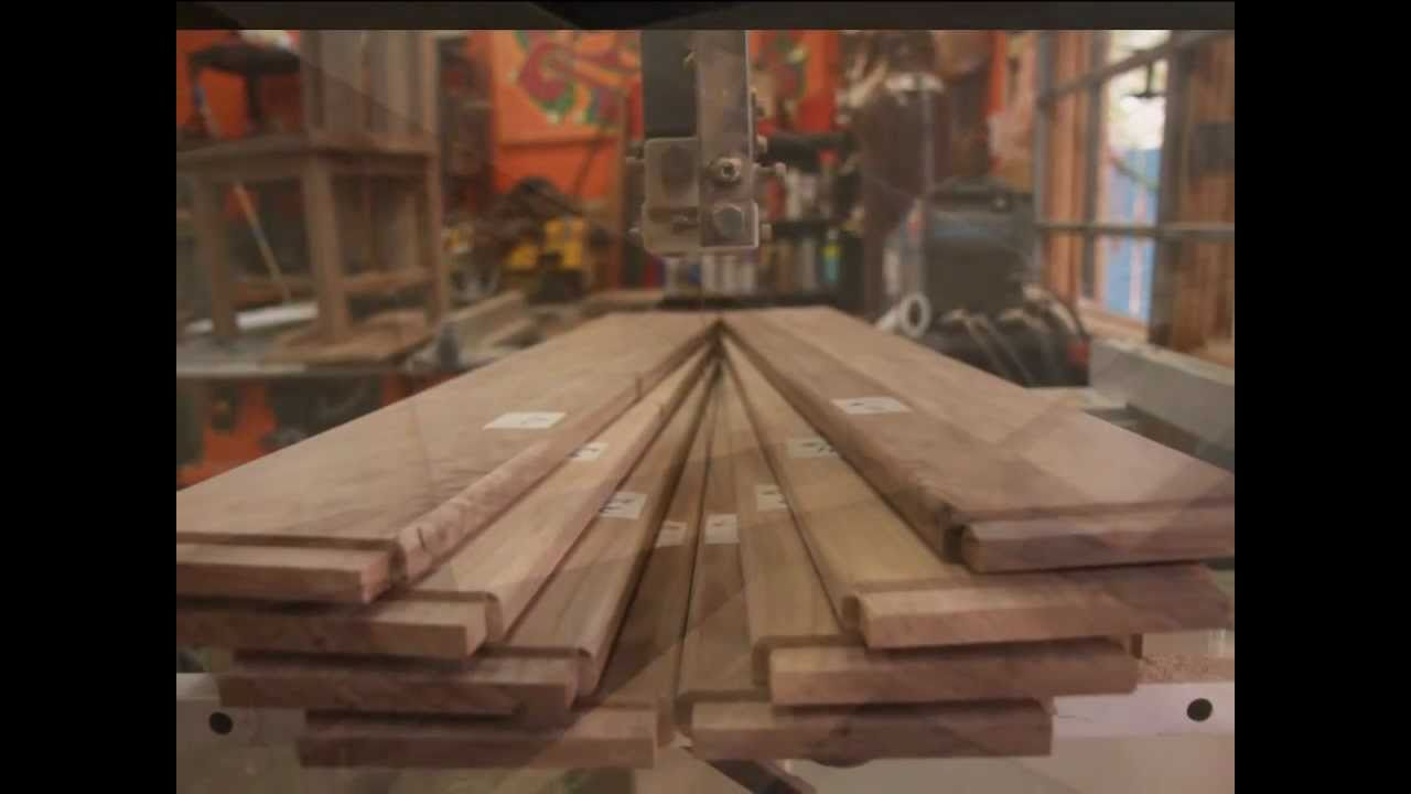Building chairs for rustic solid walnut dining room table - YouTube