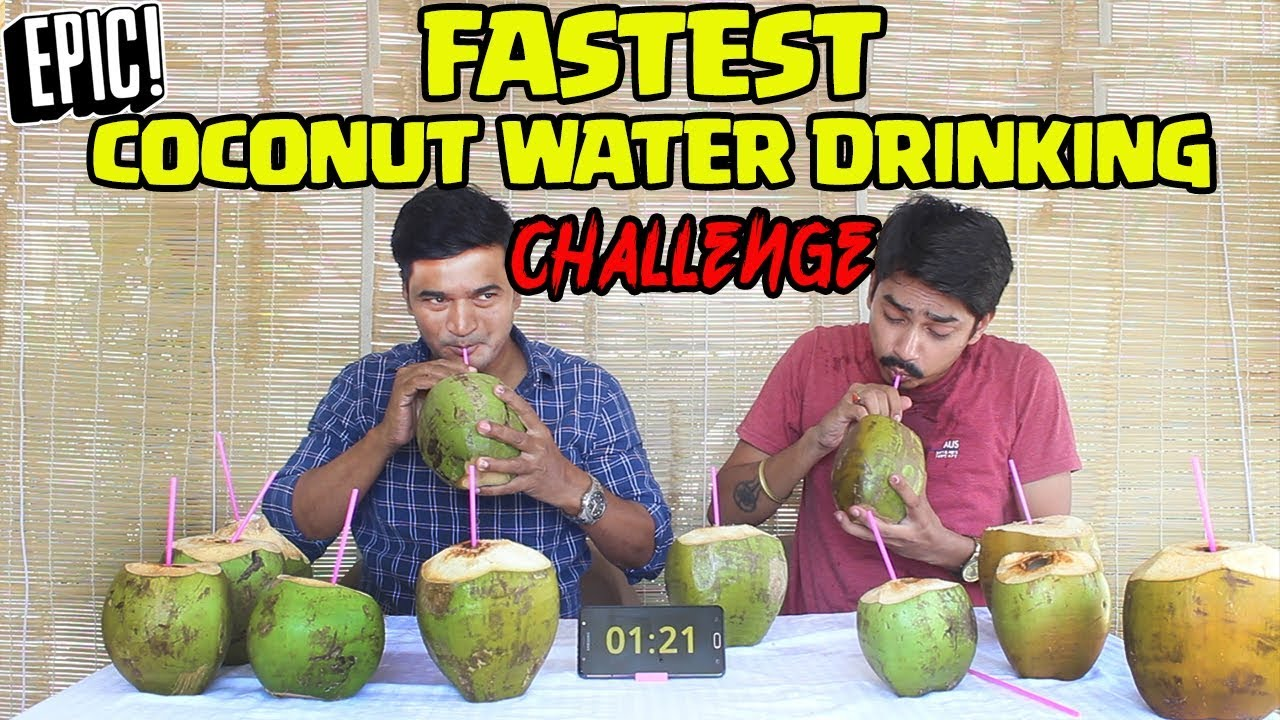 FASTEST COCONUT WATER DRINKING COMPETITION   Food Eating Challenge