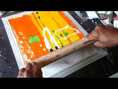 Acrylic Abstract Painting / Very Very Easy with Only Rubber Squeegee / Demostration