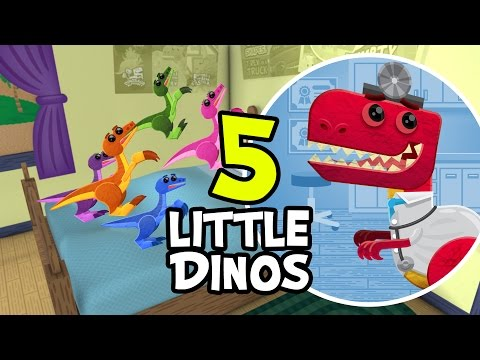 5 Little Monkeys Jumping On The Bed (Official Dinosaur Re-mix) | Nursery Rhyme | Starring Dr. T-Rex
