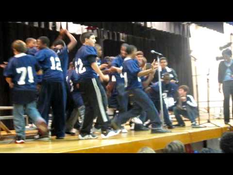 The OLMS Football Team Jerkin' at the OLMS Pep Rally :P crazy kids