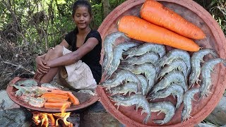 Life skills: Grilled shrimp with Carrots for Lunch food ideas - Food forest & eater Ep 72