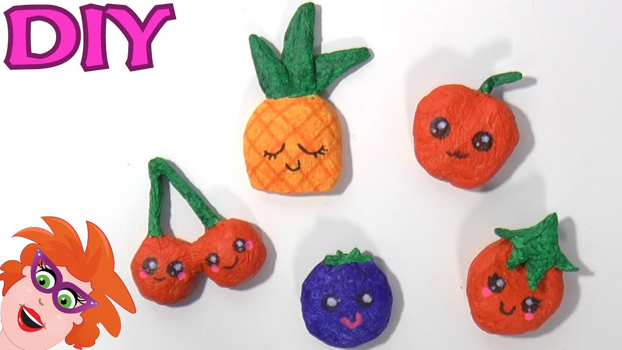 Diy Fruitmagneetjes Knutselen Van Papier Mache Youtube
