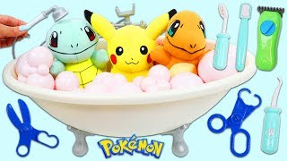 Pokemon Pikachu, Squirtle, and Charmander Go To Groomers for a Bubble Bath & Wash!