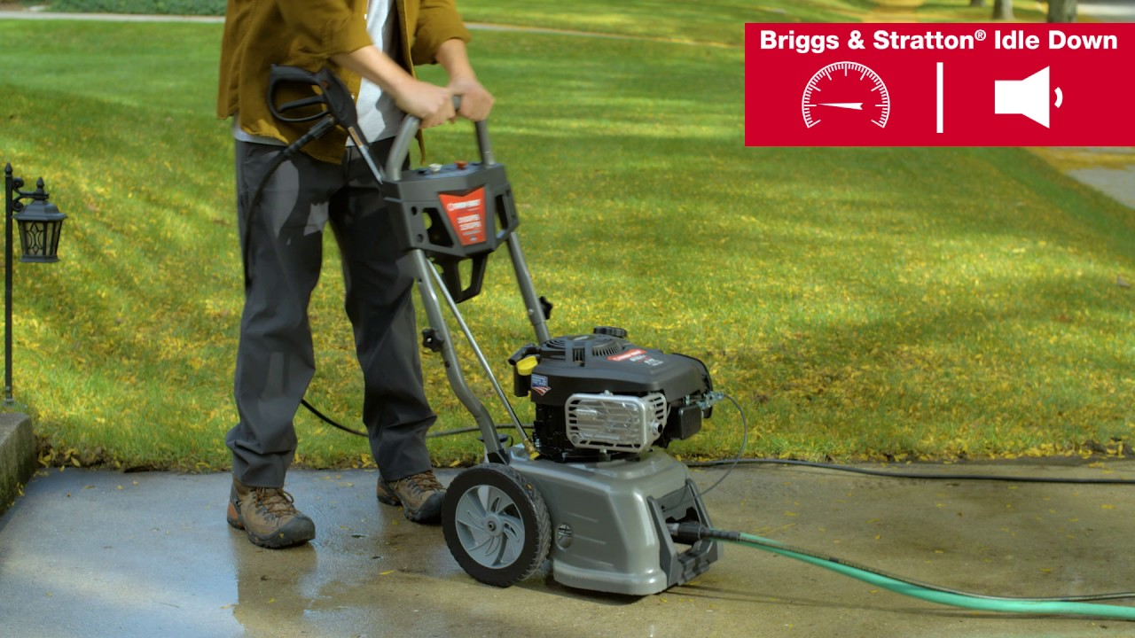 Idle Down Troy Bilt 3100 Max Psi Pressure Washer With Briggs Stratton Youtube