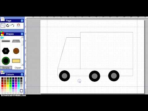how to draw a simple lorry from shapes using '2 simple software'