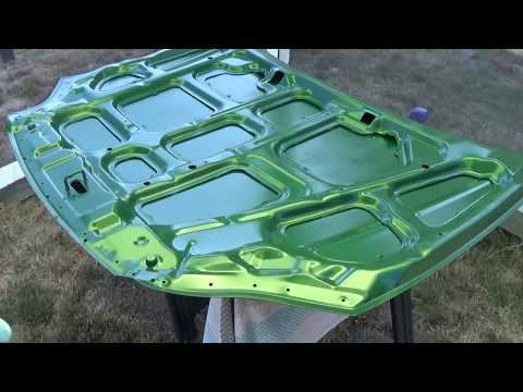 Painting car hood with spray cans