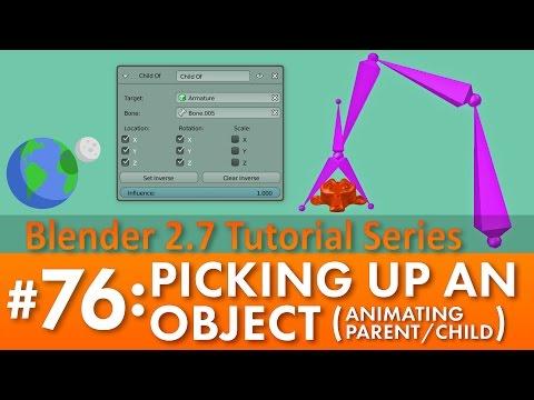 Blender 2.7 Tutorial #76: Picking Up An Object #b3d
