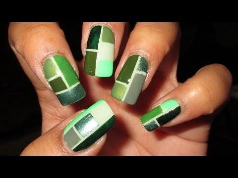 Green Color Block for Depression Awareness | DIY Nail Art Tutorial | Mani vs. Pin #1