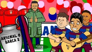 Arsenal vs Barcelona IN SIXTY SECONDS! 0-2 Song (UEFA Champions League Parody Cartoon 2016)