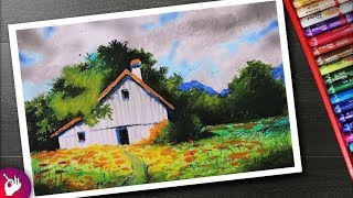Village scenery drawing for beginners with oil pastels