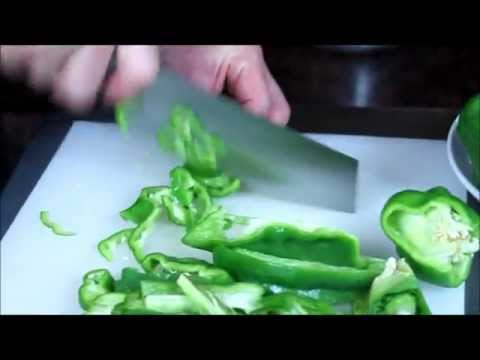 D-9 Small Cleaver on Peppers - Maestro Wu Bombshell Steel Knives