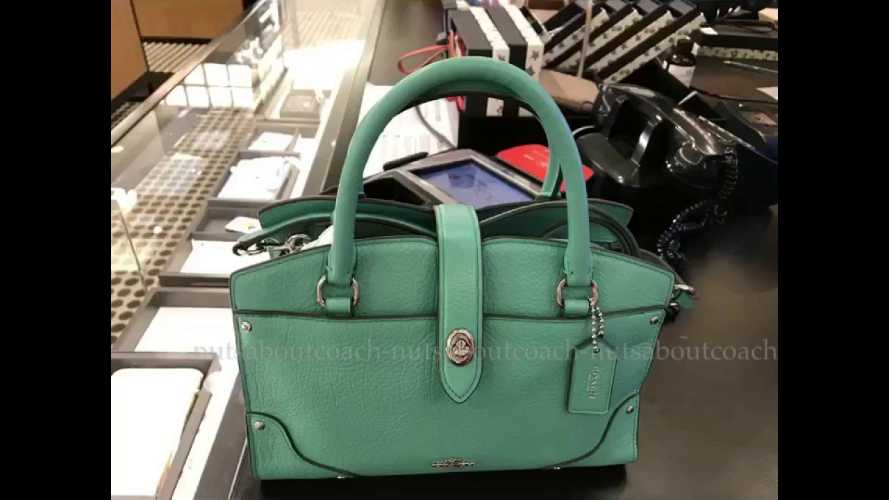 COACH Mercer Satchel 24 in Grain Leather-AQUA - YouTube d88e96bad22bd
