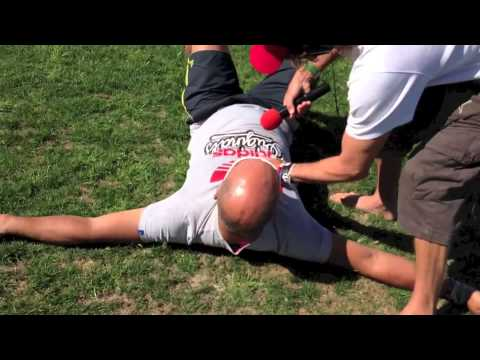Jeremy Harris gets tackled at the Rugby Tens in Cape Town