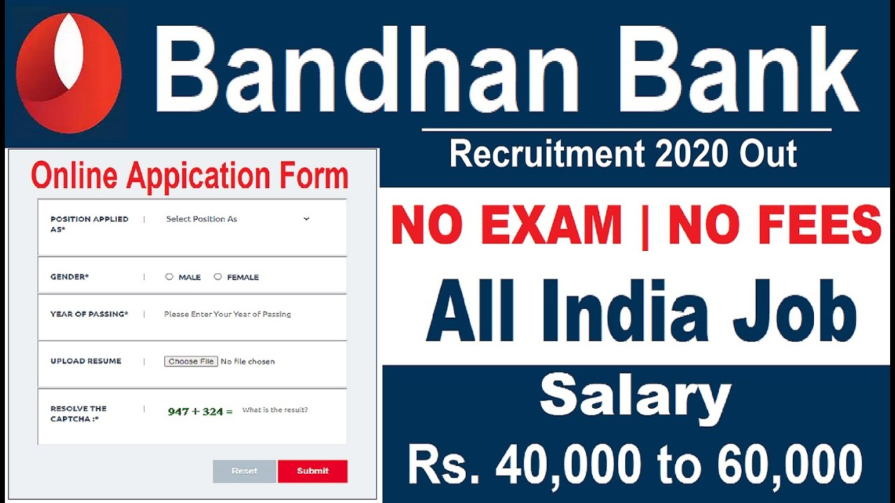 Bandhan Bank Recruitment 2020 No Exam #BankVacancy2020 Govt Jobs in Dec 2020 Recruitment 2020