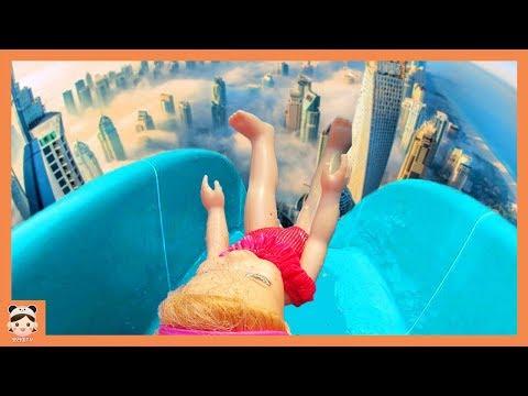 변신 캠핑카 여행 일상 2 ! 아기 인형 인기동요 어린이 수영장 슬라이드 미끄럼틀 장난감 놀이 PINK CAMPING CAR AND BABY DOLL TOYS PLAY |보라미TV