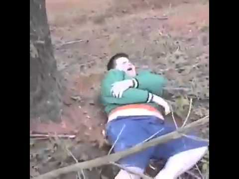 Fat kid falls trying to climb a tree - YouTube