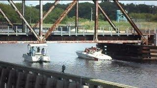 Amtrak Trains Boat Gets Stuck Under Drawbridge