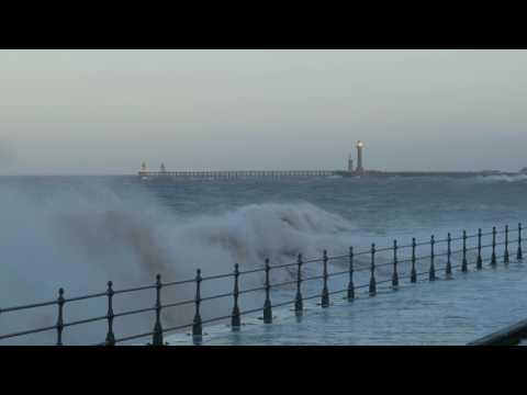 Rough Seas At Whitby - Upgang sea Wall