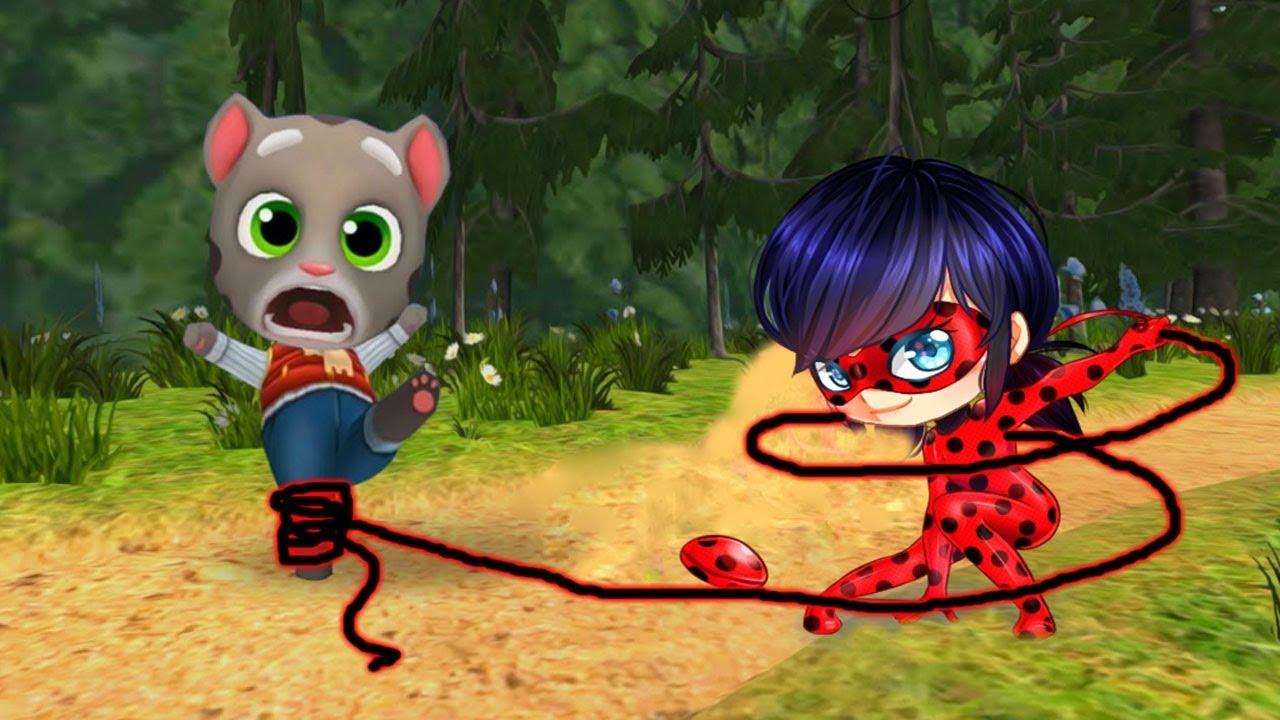 Talking Tom Hero Dash VSVS Lady Bug and Super cat vs boss RACCOON. runner