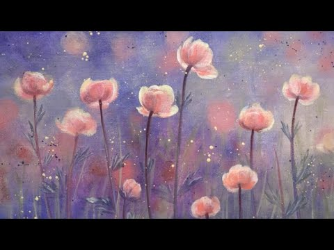 Easy Autumn Floral Acrylic Painting LIVE Tutorial