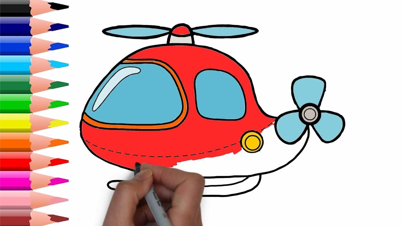 Drawing Simple Helicopter & Car Transportation for Kids - Car ...