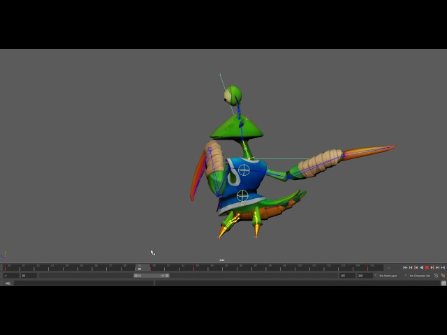 Animating a Low-Poly Character in Maya (Mantis, Part 1 - Attack)
