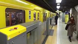 銀座カンカン娘(冒頭部分)の発車メロディが鳴る銀座駅を出発する銀座線下り1000系