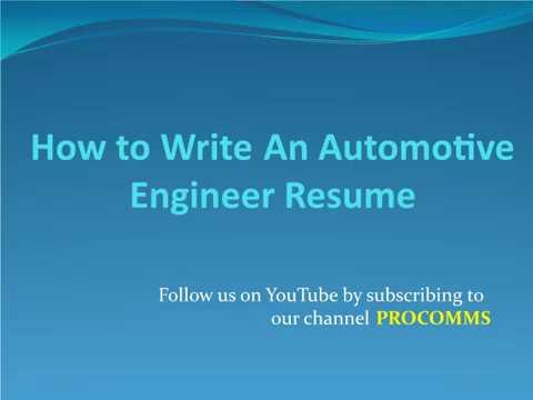 How To Write A Automotive Engineer Resume  Automotive Engineer Resume  Automobile Engineering Resume