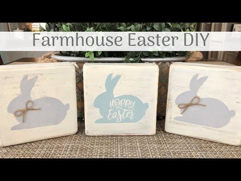 DIY Farmhouse Wooden Bunny Blocks |  Last 2019 Easter DIY